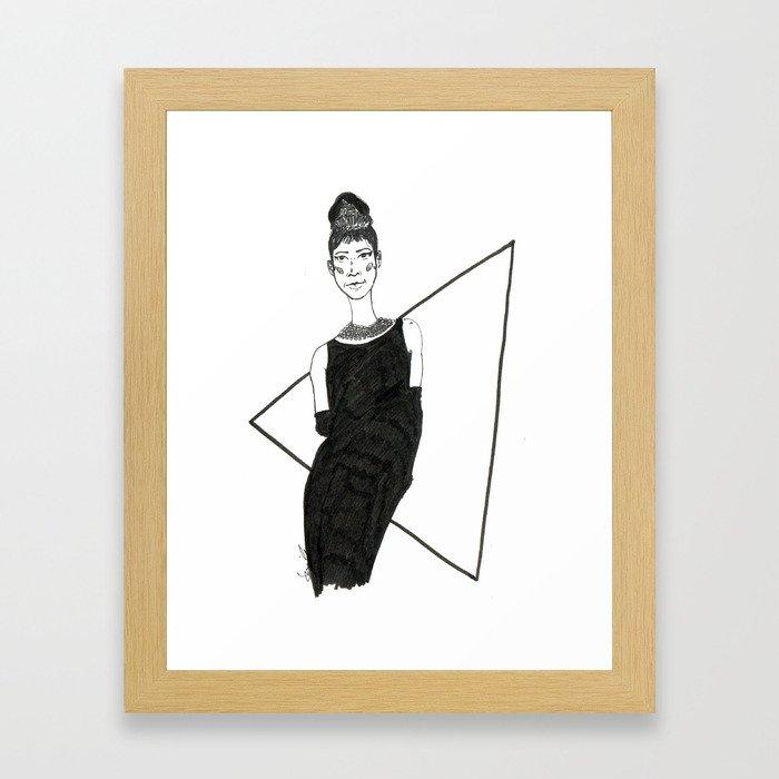 Girl in a black dress Framed Art Print