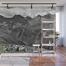 zwölferkopf hiking break view alps serfaus fiss ladis tyrol austria europe black white Wall Mural