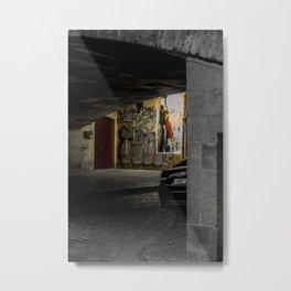 Prague street art lover's kissing at night Metal Print