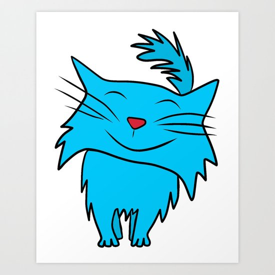 Happy Blue Cat Art Print