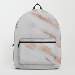 Marble - Rose Gold Marble with White Gold Foil Pattern Backpack