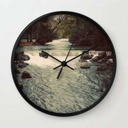 Rocky River Waterfall Englischer Garten Germany Color Photo Isar River Wall Clock