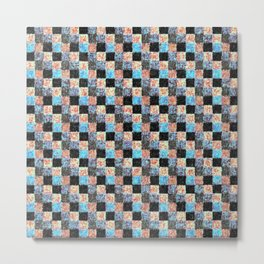 Peach Blue and Black Patchwork Metal Print