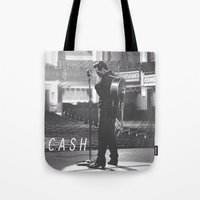 johnny cash Tote Bags featuring Johnny Cash by Earl of Grey