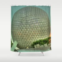 spaceship Shower Curtains featuring Spaceship Earth by Bottoms Concepts: Photography and Design
