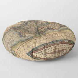 The world Ortelius Typus Orbis Terrarum 1564 Vintage World Floor Pillow