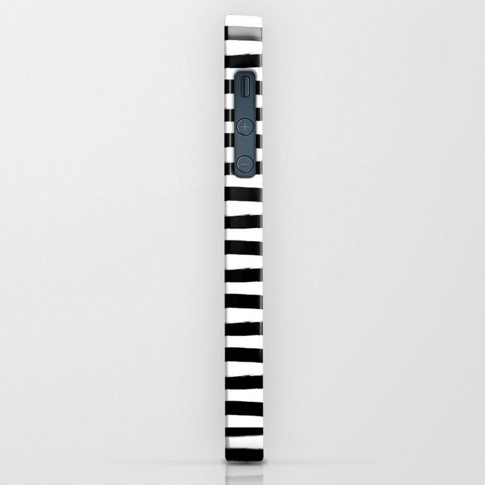 Black And White Hand Drawn Horizontal Stripes iPhone Case