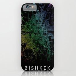 Bishkek, Kyrgyzstan, City, Map, Rainbow, Map, Art, Print iPhone Case