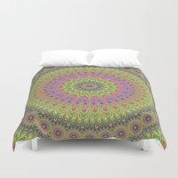 mandala Duvet Covers featuring Floral ornament mandala  by David Zydd