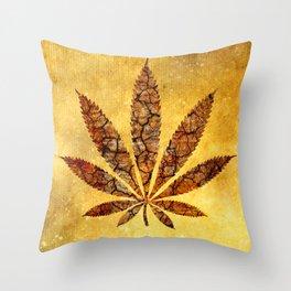 Vintage Cannabis Leaf Throw Pillow