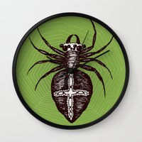 spider Wall Clocks featuring Spider by Bwiselizzy