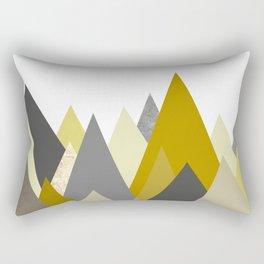 Mountains Mustard yellow Gray Neutral Geometric Rectangular Pillow