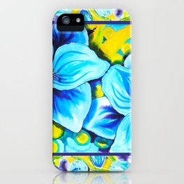 Blue Poppies 3 with Border iPhone Case