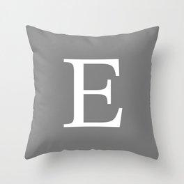 Darker Gray Basic Monogram E Throw Pillow