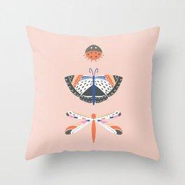 Three Bugs Blush Throw Pillow