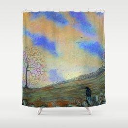 October Dusk Landscape Shower Curtain