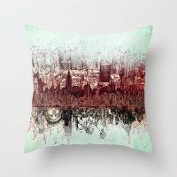 new york Throw Pillows featuring New York New York by Bekim ART
