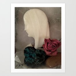 Our Lady of Marble, Gemstones & Roses Art Print