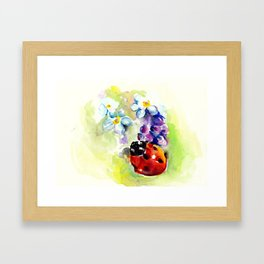 Ladybug In Blue Flowers, Lilac and Daffodils Framed Art Print