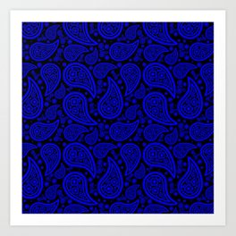 Paisley (Blue & Black Pattern) Art Print