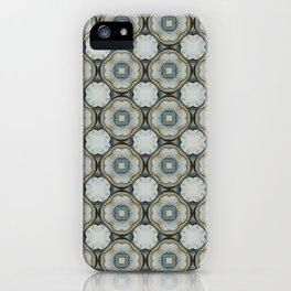 green blue floral scroll pattern iPhone Case