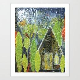 Starry night cottage Art Print