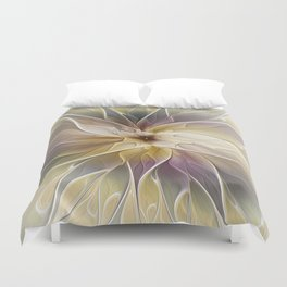 Floral Fantasy, Abstract Fractal Art Duvet Cover
