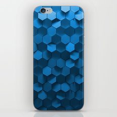 Blue hexagon abstract pattern iPhone Skin