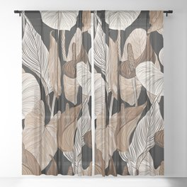 Lush lily - russet Sheer Curtain