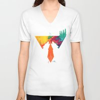 wolves V-neck T-shirts featuring Wolves by Ricardo Moody
