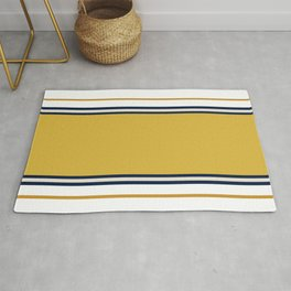 Wide and Thin Stripes Color Block Pattern in Mustard Yellow, Navy Blue, Taupe, and White Rug
