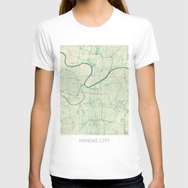Kansas City Map Blue Vintage T-shirt