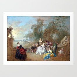 Jean-Baptiste Pater On the Terrace Art Print