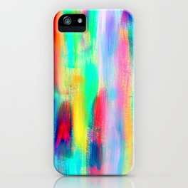 BE POSITIVE #2 Colorful Abstract Painting Lines Pattern Fluorescent Modern brushstrokes iPhone Case
