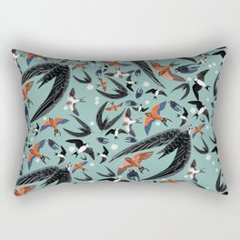 Swallows Martins and Swift pattern Turquoise Rectangular Pillow