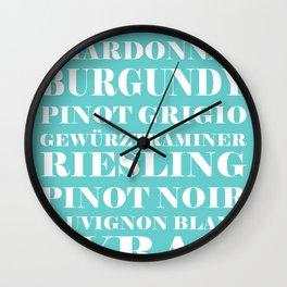 Wine Celebration - Mint Blue Wall Clock