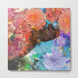 Butterfly among flowers Metal Print
