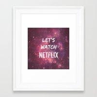 netflix Framed Art Prints featuring Netflix by Footeprints