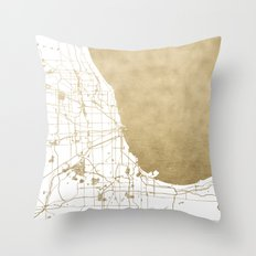 Chicago Gold and White Map Throw Pillow