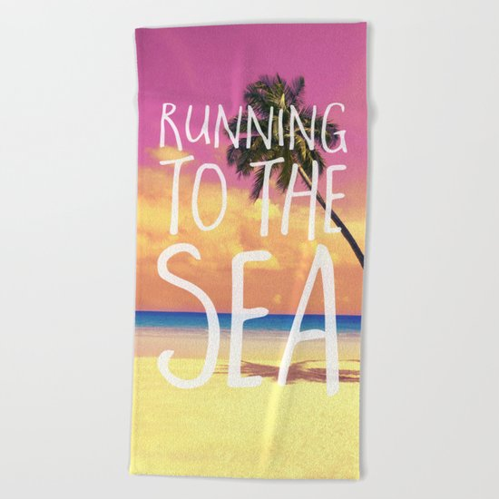 Running to the Sea Beach Towel