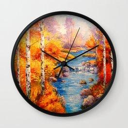 Birch at a stream Wall Clock