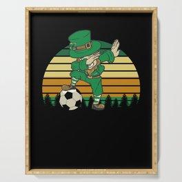 Dabbing Leprechaun Soccer St Patricks Day Serving Tray