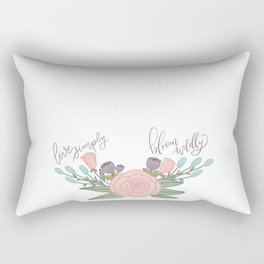 Live Simply Floral Art Rectangular Pillow
