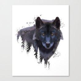 Wolf watercolor, Watercolor Wolf, Watercolor animal, Wolf portrait, Woodland animal Canvas Print