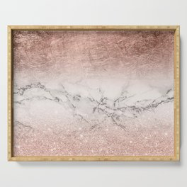 Modern faux rose gold glitter and foil ombre gradient on white marble color block Serving Tray
