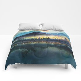 Mountain Lake Under Sunrise Comforters