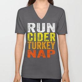 Run Cider Turkey Nap graphic Thanksgiving Turkey Trot prints Unisex V-Neck