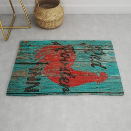 Rustic Red Rooster Inn Teal Country Decor A644 Rug