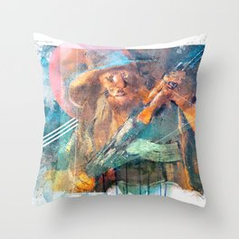 Cowardly Lion with AK-47 Throw Pillow