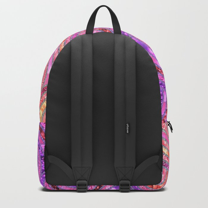 Pink Purple and Gold Sparkling Faux Glitter Mermaid Circles Backpack